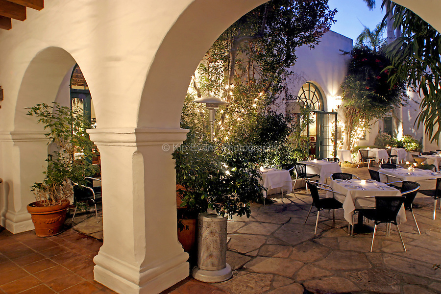 An outside dining area of a restaurant in California.