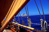 Hawaiian sailing canoe Hokulea taken from the Hawaii Loa in the open waters of the Pacific ocean