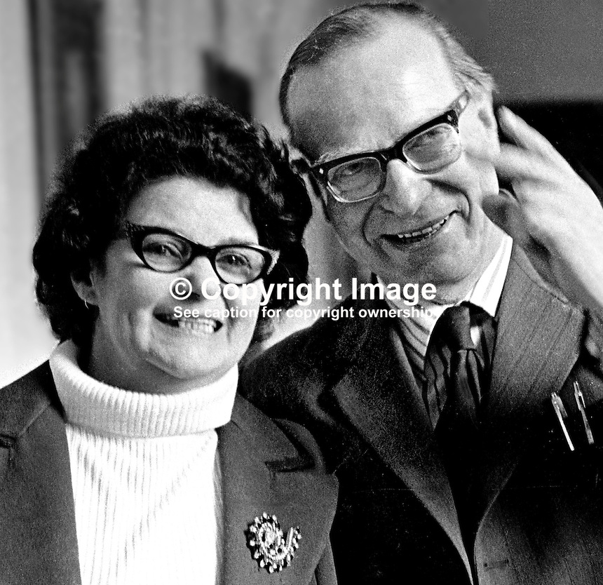 Gerry Fitt and wife, Ann, after his election as a member of the N Ireland Convention for West Belfast. Ref: 197505020256<br /> <br /> Copyright Image from Victor Patterson, 54 Dorchester Park, Belfast, UK, BT9 6RJ<br /> <br /> t: +44 28 90661296<br /> m: +44 7802 353836<br /> vm: +44 20 88167153<br /> e1: victorpatterson@me.com<br /> e2: victorpatterson@gmail.com<br /> <br /> For my Terms and Conditions of Use go to www.victorpatterson.com