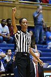 17 December 2015: Referee Angelica Suffren. The Duke University Blue Devils hosted the Liberty University Flames at Cameron Indoor Stadium in Durham, North Carolina in a 2015-16 NCAA Division I Women's Basketball game. Duke won the game 79-41.