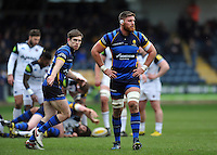 Darren Barry of Worcester Warriors looks on during a break in play. Aviva Premiership match, between Worcester Warriors and Bath Rugby on February 13, 2016 at Sixways Stadium in Worcester, England. Photo by: Patrick Khachfe / Onside Images
