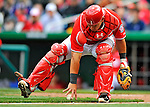 2 April 2011: Washington Nationals catcher Wilson Ramos in action against the Atlanta Braves at Nationals Park in Washington, District of Columbia. The Nationals defeated the Braves 6-3 in the second game of their season opening series. Mandatory Credit: Ed Wolfstein Photo