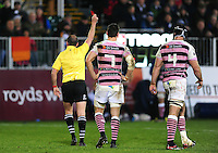 George Earle of Cardiff Blues is shown a red card by the referee. European Rugby Challenge Cup match, between Bath Rugby and Cardiff Blues on December 15, 2016 at the Recreation Ground in Bath, England. Photo by: Patrick Khachfe / Onside Images