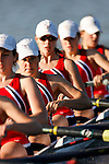 Philadelphia, Pennsylvania - Members of the University of Pennsylvania Women's Crew team practice in the early morning hours on the Schuylkill River in Philadelphia, Pennsylvania.