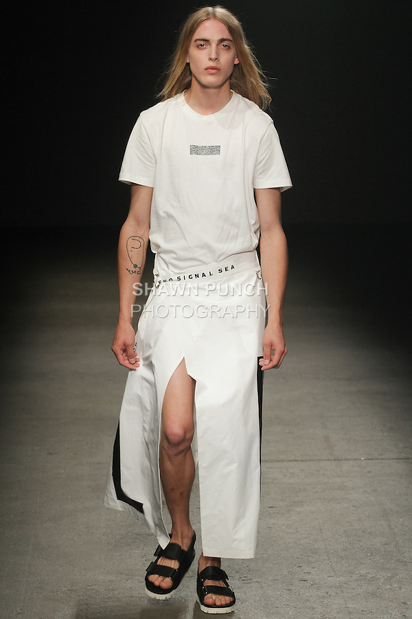 Model walks runway in an outfit from the DBYD Spring Summer 2016 Loner collection by Kang Dong Jun for the Concept Korea Spring Summer 2016 fashion show, duringn New York Fashion Week Men, Spring Summer 2016.