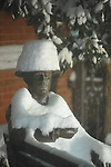 Wiliam Faulkner statue in the snow in Oxford, Miss., on Sunday, January 9, 2011.