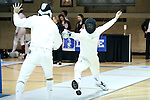 11 February 2017: Duke's Bryn Hammarberg (right) lunges at MIT's Sheel Patel (left) in Epee. The Duke University Blue Devils hosted the Massachusetts Institute of Technology Engineers at Card Gym in Durham, North Carolina in a 2017 College Men's Fencing match. Duke won the dual match 19-8 overall, 7-2 Foil, 6-3 Epee, and 6-3 Saber.