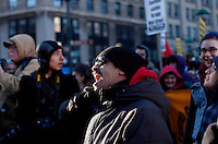Immigrants Protest during the International Migrants Day as they receive support by Occupy Wall Street members in New York, United States. 18/12/2011.  Photo by Kena Betancur / VIEWpress.