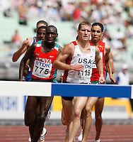 Joshua McAdams ran 8:32.46 in the 1st. round of the 3000m steeplechase on Sunday, August 26, 2007.Photo by Errol Anderson,The Sporting Image.