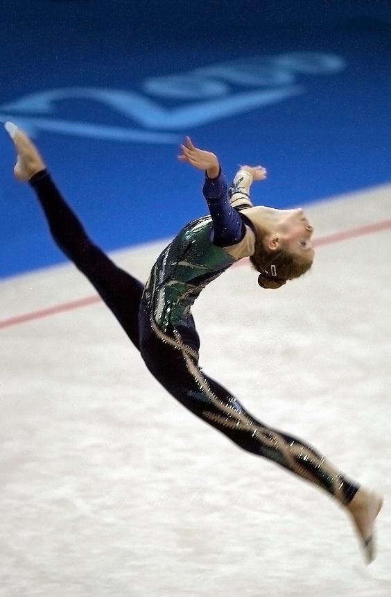 Sep 28, 2000; SYDNEY, AUSTRALIA:<br /> Emilie Livingston of Canada performs during rhythmic gymnastics qualifying at 2000 Summer Olympics.