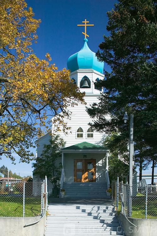 Holy Resurrection Russian Orthodox Church, fall, Kodiak Alaska.