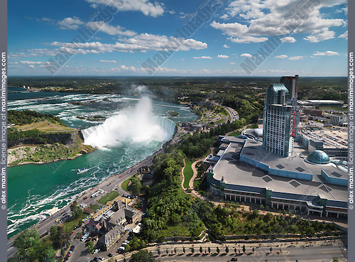 Aerial view on Niagara Falls Canadian Horseshoe and Fallsview Casino. Ontario, Canada 2011.