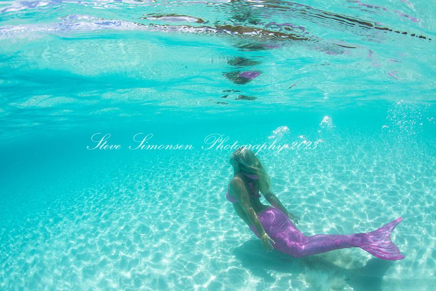 Cassandra Bitterwolf as mermaid<br /> Trunk Bay<br /> Virgin Islands National Park<br /> St. John<br /> US Virgin Islands