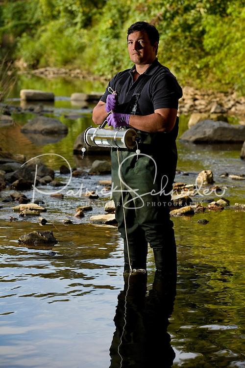 Catawba Riverkeeper Sam Perkins at work testing the waters in the Charlotte, North Carolina area.<br /> <br /> Charlotte Photographer - PatrickSchneiderPhoto.com