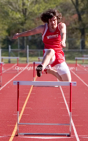 WOLCOTT, CT- 08 MAY 2007- 050807JT15- <br /> Wolcott's Ryan McNamee during the 300 hurdles at Tuesday's track meet at Wolcott.<br /> Josalee Thrift Republican-American