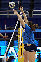 SAN ANTONIO, TX - DECEMBER 14, 2011: Practice Day at the 2011 NCAA Division I Women's Volleyball Championship at the Alamodome. (Photo by Jeff Huehn)