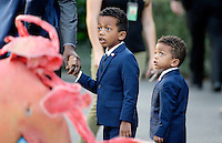Two kids dressed up as United States President Barack Obama look on during a Halloween event at the South Lawn of the White House October 31, 2016 in Washington, DC. The first couple hosted local children and children of military families for trick-or-treating at the White House.<br /> Credit: Olivier Douliery / Pool via CNP /MediaPunch