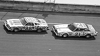 DARRELL WALTRIP #88 OLDSMOBILE, NEIL BONNETT, #21 MERCURY, 1979 Firecracker 400 NASCAR race, Daytona International Speedway, Daytona Beach, FL, July 4, 1979.  (Photo by Brian Cleary/ www.bcpix.com )