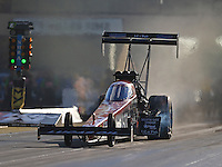 Jul 8, 2016; Joliet, IL, USA; NHRA top fuel driver Chris Karamesines during qualifying for the Route 66 Nationals at Route 66 Raceway. Mandatory Credit: Mark J. Rebilas-USA TODAY Sports