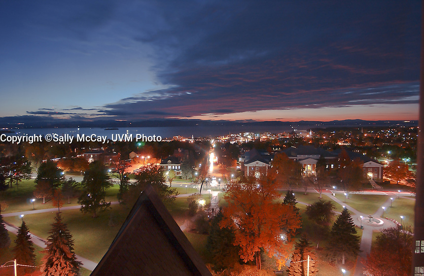 Evening view from Old Mill Tower over the UVM Green and Burlington, Vermont, Fall UVM Campus