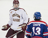 Steven Santini (BC - 6), Adam Chapie (UML - 13) - The Boston College Eagles defeated the visiting University of Massachusetts Lowell River Hawks 3-0 on Friday, February 21, 2014, at Kelley Rink in Conte Forum in Chestnut Hill, Massachusetts.