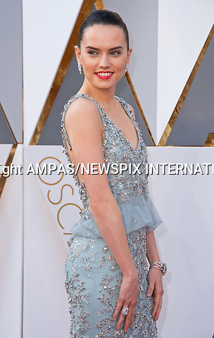 28.02.2016; Hollywood, California: 88th OSCARS - DAISY RIDLEY<br /> attend the 88th Annual Academy Awards at the Dolby Theatre&reg; at Hollywood &amp; Highland Center&reg;, Los Angeles.<br /> Mandatory Photo Credit: &copy;Ampas/Newspix International<br /> <br /> PHOTO CREDIT MANDATORY!!: NEWSPIX INTERNATIONAL(Failure to credit will incur a surcharge of 100% of reproduction fees)<br /> <br /> IMMEDIATE CONFIRMATION OF USAGE REQUIRED:<br /> Newspix International, 31 Chinnery Hill, Bishop's Stortford, ENGLAND CM23 3PS<br /> Tel:+441279 324672  ; Fax: +441279656877<br /> Mobile:  0777568 1153<br /> e-mail: info@newspixinternational.co.uk<br /> All Fees To: Newspix International
