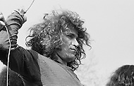 Manhattan, New York City, NY. April 27th, 1969. <br /> Gerome Ragni is the playwright of Hair. The cast of the rock musical 'Hair' during a free performance in New York's Central Park to mark the one year anniversary of it's Broadway debut. The musical celebrated hippies living in the 'Age of Aquarius' and several of its songs became anti-Vietnam War anthems.<br /> A l'occasion du premier anniversaire de la com&eacute;die musicale de Broadway 'Hair' , la troupe va se produire gratuitement &agrave; Central Park , certaines chansons du groupe sont devenues des symboles contre la guerre du Vietnam.