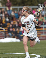 Boston College midfielder Sarah Mannelly (6)..University of Maryland (black) defeated Boston College (white), 13-5, on the Newton Campus Lacrosse Field at Boston College, on March 16, 2013.