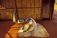 Terena Indigenous woman, Nioake village, Mato Grosso do Sul State, Brazil. Craftsmanship, sustainable work.