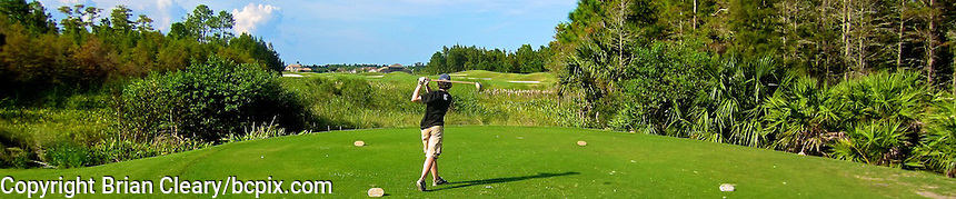 A golfer hits his tee shot on a Florida golf course,  web banner photo, 1200x250 pixels and 500x100 pixels available. (Photo by Brian Cleary/www.bcpix.com) 1200x250 pixels and 500x100 pixels available.