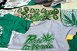 View of T-shirts with marijuana logos are showed during a rally demanding decriminalization of drug posession after Mexican Congress approved a drug law on April 29 to legalize the possession of small quantities of drugs and mandate treatment for addicts, May 6, 2006 Mexican President Vicente Fox refused to sign a drug decriminalization bill on Wednesday. Photo by Javier Rodriguez