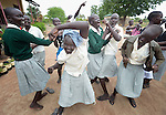 Students dance at the Loreto Secondary School in Rumbek, South Sudan. The girls' school is run by the Institute for the Blessed Virgin Mary--the Loreto Sisters--of Ireland.