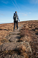 Female hiker on Offa's Dyke path, Black Mountains, Wales