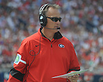 Georgia Coach Mark Richt walks the sidelines against Mississippi at Vaught-Hemingway Stadium in Oxford, Miss. on Saturday, September 24, 2011. Georgia won 27-13. (AP Photo/Oxford Eagle, Bruce Newman)..