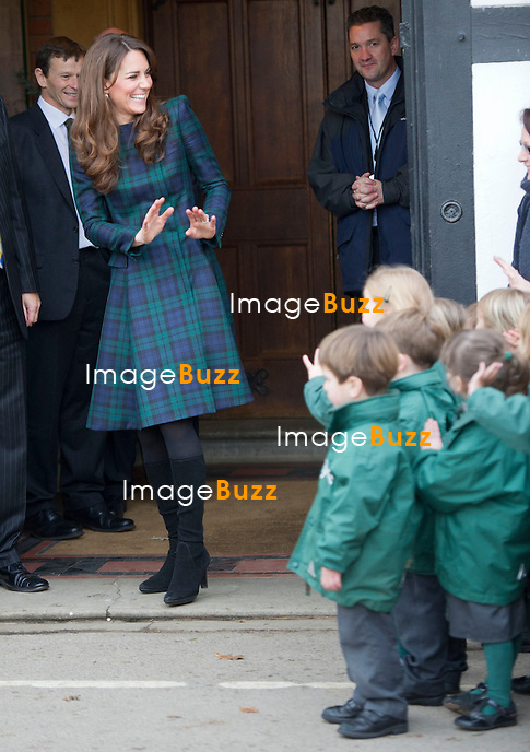 Kate, The Duchess of Cambridge at St. Andrew's School, where Her Royal Highness attended school from 1986 till 1995.  The 30th November is St. Andrew's Day, and the school traditionally observes a day of activities and festivities to mark the occasion..The Duchess visited the Pre-Prep school for Under-5s.  The Duchess  opened a new Astroturf playing field by unveiling a plaque.  The Duchess, who played hockey at St. Andrew's, used this opportunity to meet members of the school?s current hockey team.  The Duchess  then toured the school privately and watched the School's Progressive Games, which are traditional games played indoors by the School's teachers and students on St. Andrew's Day. November 30, 2012.