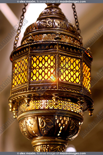 Moroccan lantern. Home lighting and decoration.