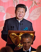 President XI Jinping of China makes remarks prior to exchanging toasts with United States President Barack Obama  during a State Dinner in the East Room of the White House in Washington, DC on Friday, September 25, 2015.<br /> Credit: Ron Sachs / CNP
