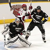 Hayden Hawkey (PC - 31), Ty Pelton-Byce (Harvard - 11) Vincent Desharnais (PC - 2) - The Harvard University Crimson defeated the Providence College Friars 3-0 in their NCAA East regional semi-final on Friday, March 24, 2017, at Dunkin' Donuts Center in Providence, Rhode Island.