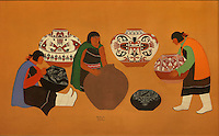 Pottery Making, painting by Romando Vigil or Tse Ye Mu, Puebloan artist, in the Chapin Mesa Archeological Museum, in Mesa Verde National Park, Montezuma County, Colorado, USA. Romando Vigil is from San Ildefonso Pueblo, New Mexico, and was a contributor to the murals at the Santa Fe Indian School and also painted for Walt Disney studios. Mesa Verde is the largest archaeological site in America, with Native Americans inhabiting the area from 7500 BC to 13th century AD. It is listed as a UNESCO World Heritage Site. Picture by Manuel Cohen