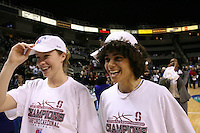 5 March 2007: Christy Titchenal and Cissy Pierce during Stanford's 62-55 win over ASU in the finals of the women's Pac-10 tournament championship at HP Pavilion in San Jose, CA.