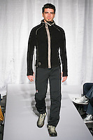 Model walks runway in a winter outfit, for the 66° North Winter 2011 collection fashion show, January 5, 2011.