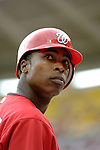 21 May 2006: Alfonso Soriano, outfielder for the Washington Nationals, looks back to the dugout from the on-deck circle during a game against the Baltimore Orioles at RFK Stadium in Washington, DC. The Nationals defeated the Orioles 3-1 to take 2 of 3 games in their first inter-league series...Mandatory Photo Credit: Ed Wolfstein Photo..