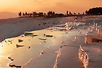 Photo &amp; Image  of Pamukkale Travetine Terrace, Turkey, at sunset. Images of the white Calcium carbonate rock formations. Buy as stock photos or as photo art prints. 4