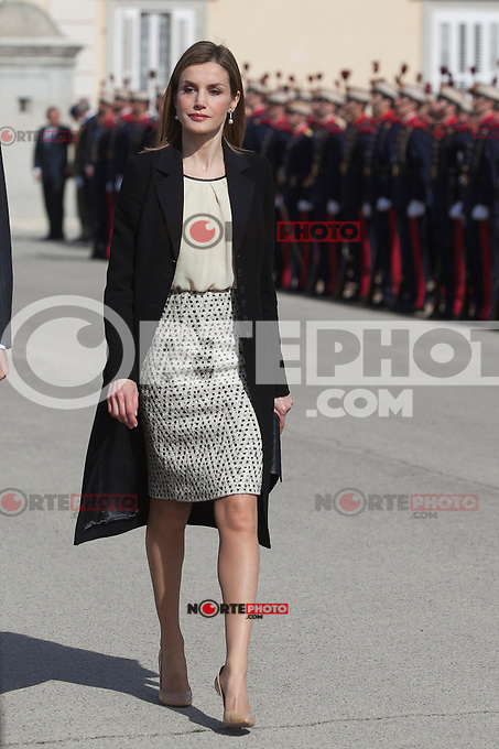 Queen Letizia of Spain during the Colombia´s President Juan Manuel Santos and his wife Maria Clemencia Rodriguez welcome ceremony at the Pardo Palace in Madrid, Spain. March 01, 2015. (ALTERPHOTOS/Victor Blanco) /NORTEphoto.com