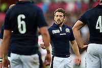 Scotland captain Greig Laidlaw speaks to his team during a break in play. Rugby World Cup Pool B match between Scotland and Japan on September 23, 2015 at Kingsholm Stadium in Gloucester, England. Photo by: Patrick Khachfe / Onside Images