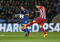 Leicester City's Shinji Okazaki and Atletico Madrid's Diego Godin in action during todays match<br /> <br /> Photographer Stephen White/CameraSport<br /> <br /> UEFA Champions League Quarter Final Second Leg - Leicester City v Atletico Madrid - Tuesday 18th April 2017 - King Power Stadium - Leicester <br /> <br /> World Copyright &copy; 2017 CameraSport. All rights reserved. 43 Linden Ave. Countesthorpe. Leicester. England. LE8 5PG - Tel: +44 (0) 116 277 4147 - admin@camerasport.com - www.camerasport.com