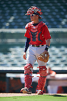 Boston Red Sox catcher Samuel Miranda (32) during an Instructional League game against the Baltimore Orioles on September 22, 2016 at the Ed Smith Stadium in Sarasota, Florida.  (Mike Janes/Four Seam Images)
