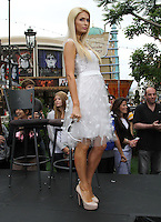 "Paris Hilton .Gabriel Mann And Kathy And Paris Hilton Fashion Show On ""Extra"" Held at The Grove, West Hollywood, California, USA..May 2nd, 2012.full length white sheer dress tulle side.CAP/ADM/KB.©Kevan Brooks/AdMedia/Capital Pictures."
