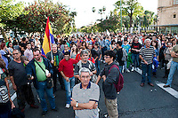 Protest by the 15M movement in Seville Spain 29-9-12 The demonstration blocked the main road outside the parliament of Andalucia for several hours in protest at Spanish austerity measures and police repression at a protest in Madrid on May 22nd.