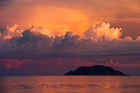 Apo Island at sunset, seen from Dauin